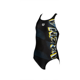arena Draft One Piece Badpak V Back Meisjes, black/yellow star